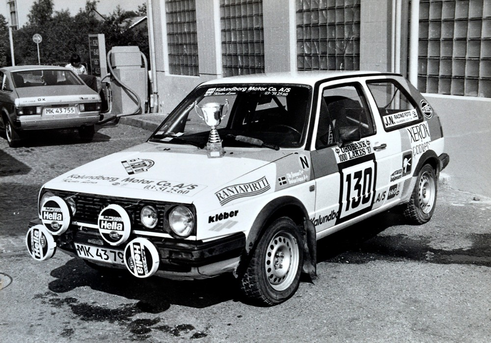 Det var i denne VW Golf som Ole Jensen vandt klassesejren med i det finske VM Rally.
