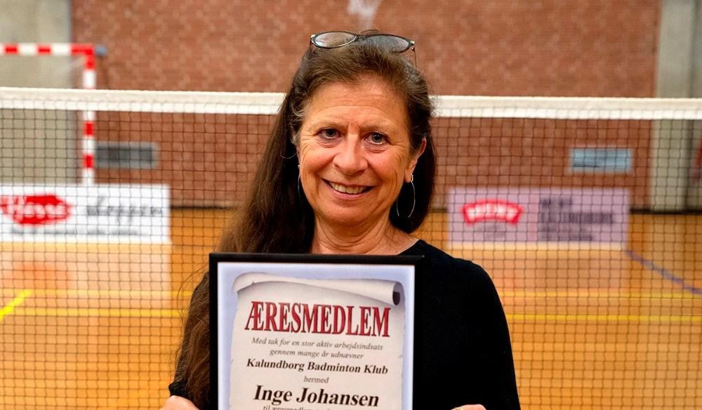 Inge Johansen er udnævnt til æresmedlem af Kalundborg Badmintonklub. Foto: Jens Nielsen