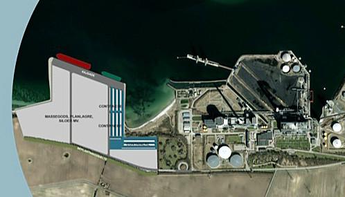 Det grå område viser den 330.000 kvadratmeter opførelse af den ny VestHavn