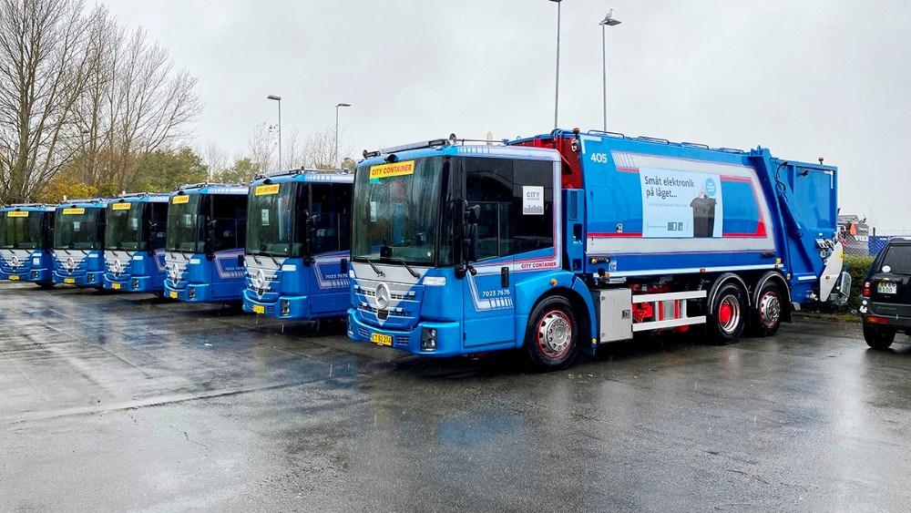 Der er indkøbt 12 helt nye skraldebiler til at køre i Kalundborg Kommune. Foto: Jens Nielsen