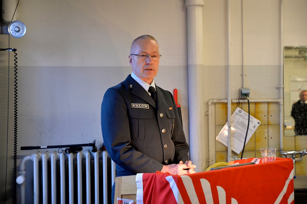 Stationsleder på Snetingestationen, Toni Jensen, berettede om årets gang. Foto: Jens Nielsen