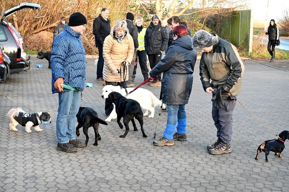 Rigtigt mange hunde og deres ejere var mødt op for at være med på gåturen. Foto: Jens Nielsen